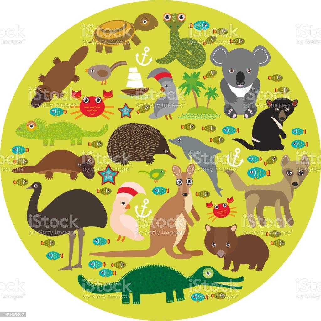 Ilustración de Animales Australia Equidna Platypus Avestruz La Uem ...