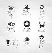 Animals authentic graphic signs