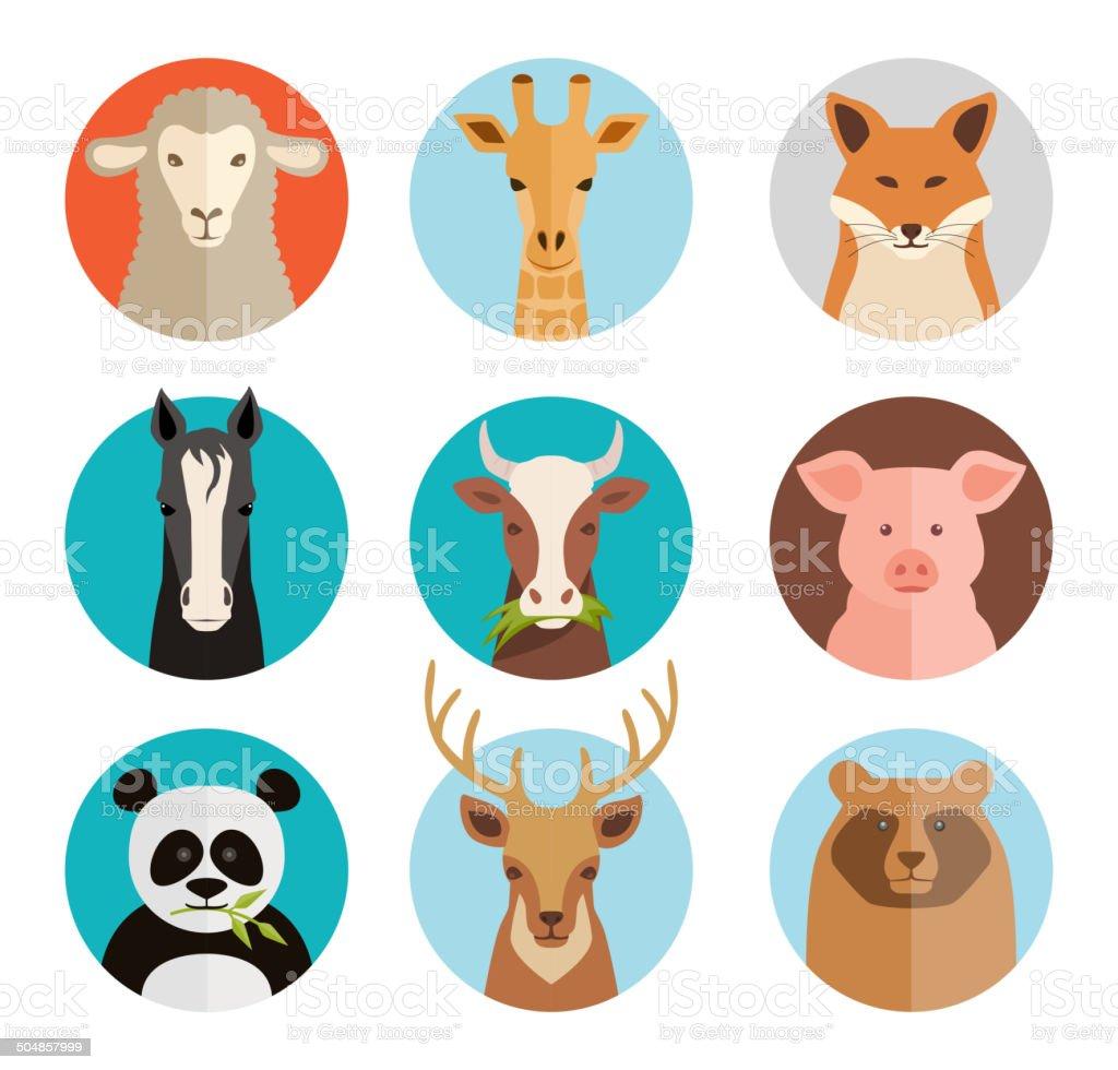 Animals avatars vector art illustration