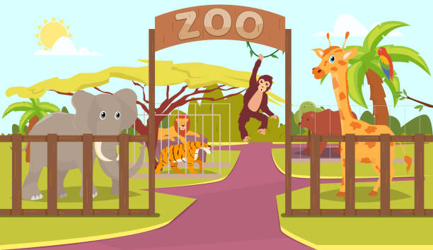 Animals behind fence and zoo sign Animals behind fence and zoo sign zoo stock illustrations
