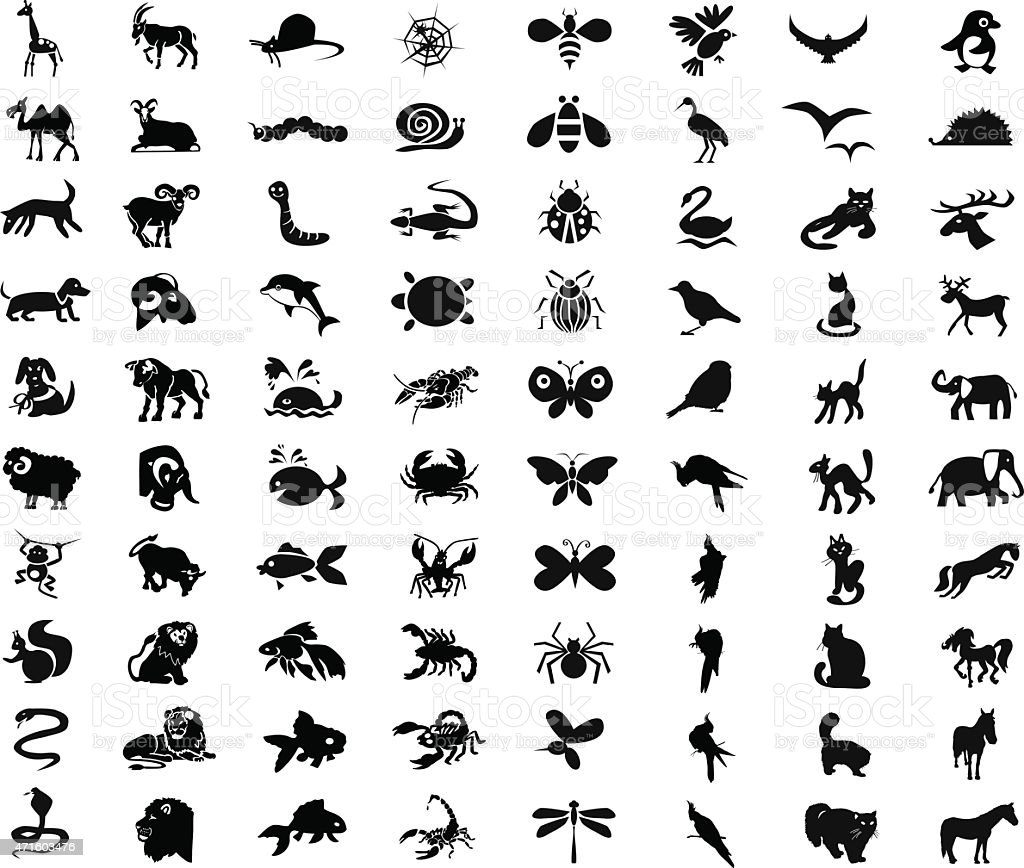 animals, birds, insects icons vector art illustration
