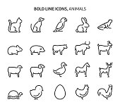 istock Animals, bold line icons 1279878923