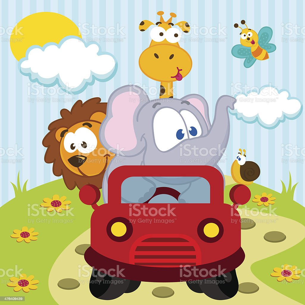 animals by car royalty-free stock vector art