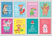 Animals card set, hand drawn style, summer theme.