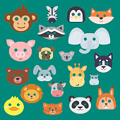 Animals carnival mask vector set festival decoration masquerade and party costume cute cartoon head decor isolated celebration vector illustration