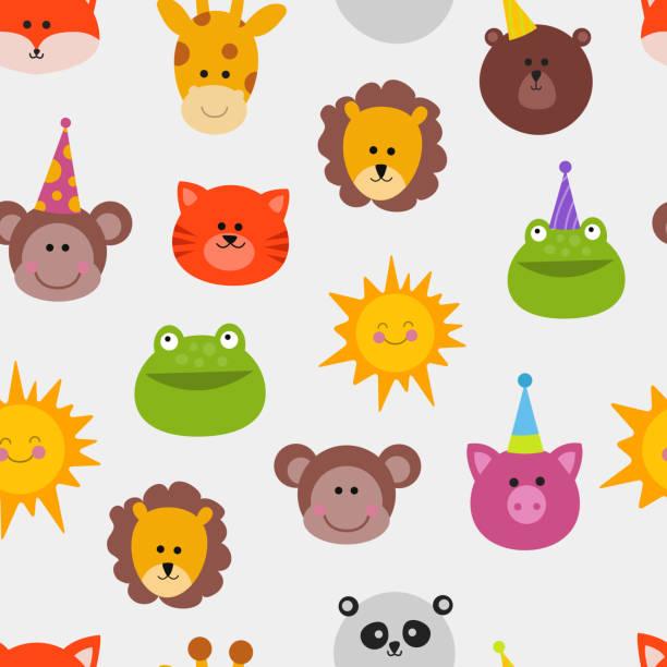 tiere karneval maske vektor festgelegt festdekoration maskerade musterdesign affe, löwe, katze, frosch und sonne - giraffenkostüm stock-grafiken, -clipart, -cartoons und -symbole