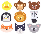 Animals carnival mask vector set.