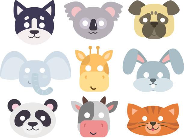 animals carnival mask vector set. - giraffenkostüm stock-grafiken, -clipart, -cartoons und -symbole