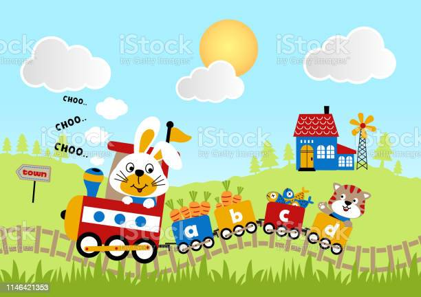Animals cartoon journey with train on landscape background vector id1146421353?b=1&k=6&m=1146421353&s=612x612&h=rwiathkradj2fww konfphs6tk2lon7r868mwcqaj08=