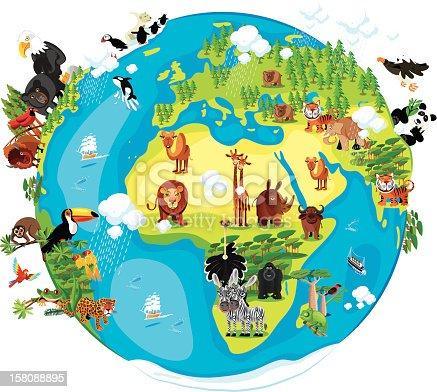 istock Animals Cartoon of World 158088895