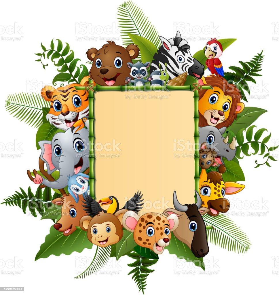 Comictiere Mit Leere Zeichen Bambus Stock Vektor Art Und Mehr Bilder
