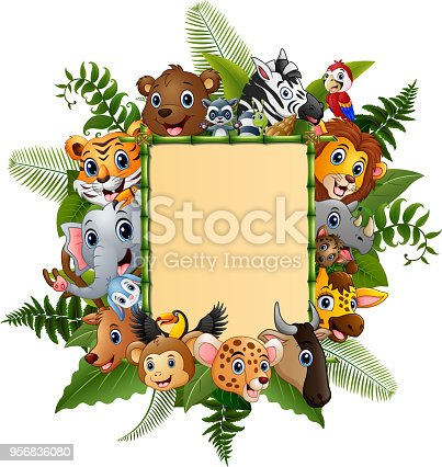 Vector illustration of animals cartoon with blank sign bamboo