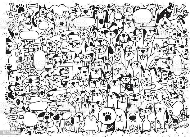 Animals cats and dogs vector pattern hand drawn doodles pets vector id612268380?b=1&k=6&m=612268380&s=612x612&h=awlq1w91vwya3f0dosqijpea32xde6jv5gkunn5vgau=