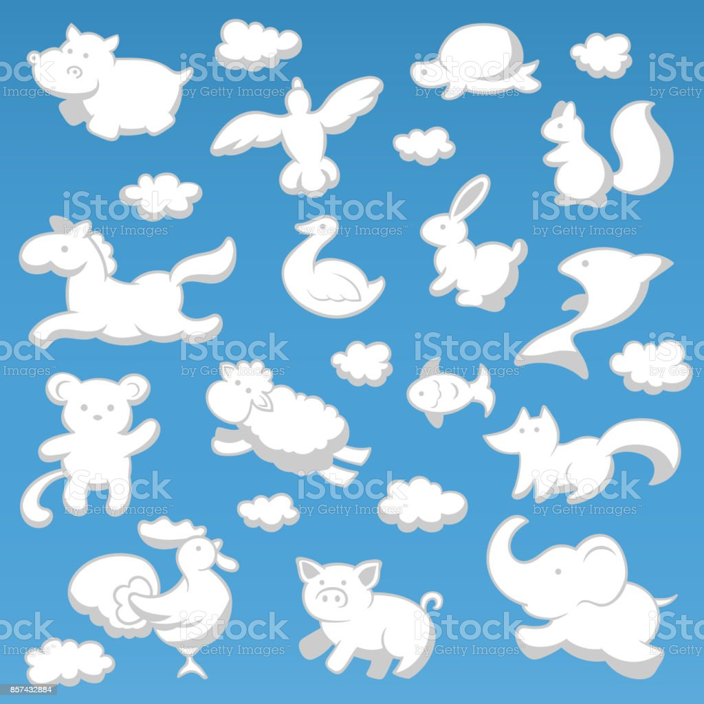 Animals Cloud Cartoon Kids Style Silhouette White Color Vector ...