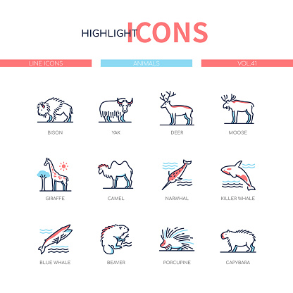 Animals collection - modern line design style icons set