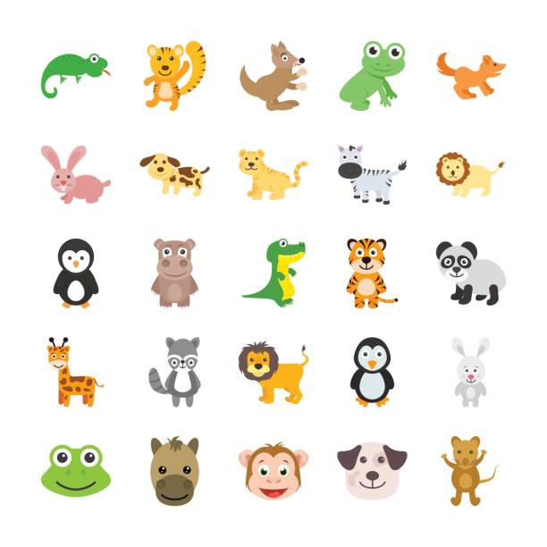 Animals Colored Vector Icons 3 This Cute Animals Vector Icons Set would be perfect for all your kiddo projects, animal themed work scrapbook pages for your kids or playful greeting cards. water bird stock illustrations
