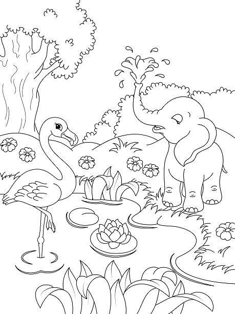 Royalty Free Flamingo In The Pond Clip Art, Vector Images