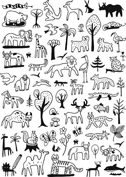 bildbanksillustrationer, clip art samt tecknat material och ikoner med animals doodles - hund skog