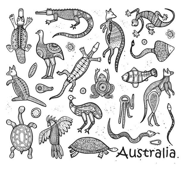 bildbanksillustrationer, clip art samt tecknat material och ikoner med djur teckningar aboriginal australier stil - platypus