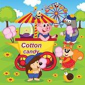 animals eat cotton candy at amusement park