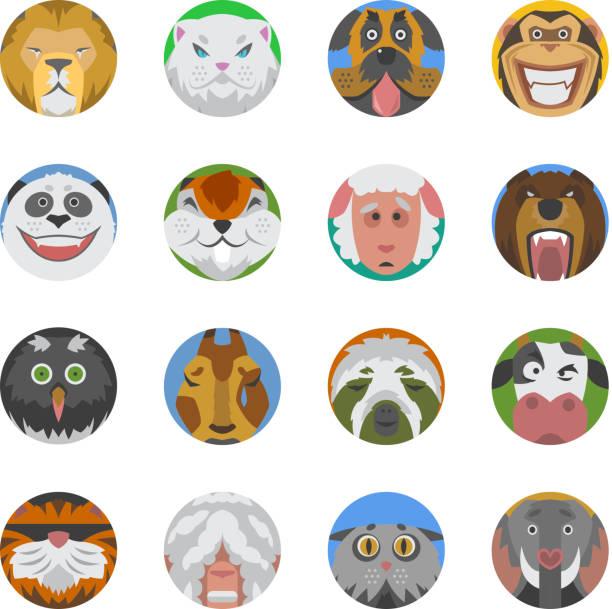 Animals emotions icons vector set. - Illustration vectorielle