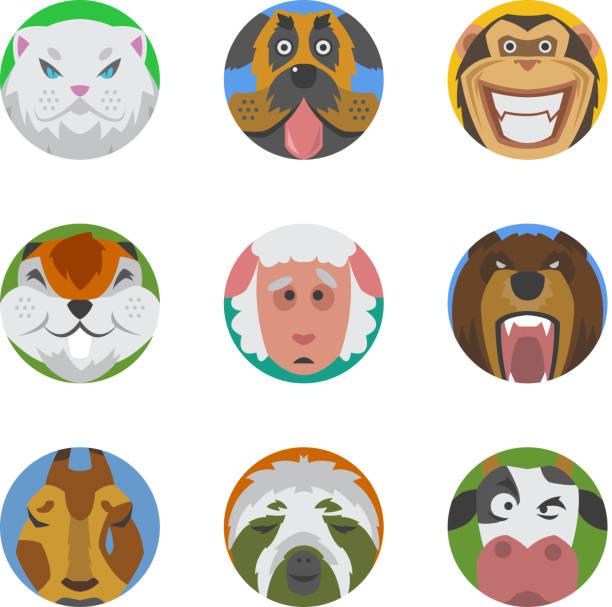 illustrations, cliparts, dessins animés et icônes de animals emotions icons vector set. - emoji paresseux