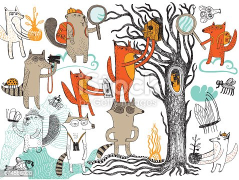 Hand drawn vector illustration of animals explorers