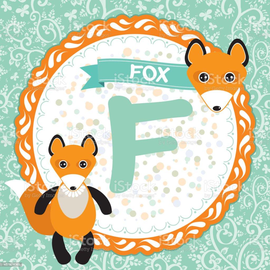 ABC animals F is fox. Childrens english alphabet. Vector royalty-free stock vector art