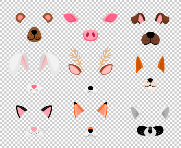 Animals face masks set on transparent Animals masks. Face masking for masquerade, rabbit and bear, dog, and fox cute halloween head mask set isolated on transparent background, vector illustration halloween cat stock illustrations
