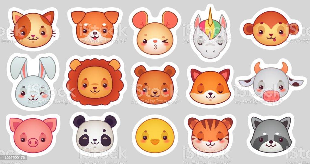 Ilustración De Animales Cara Pegatinas Caras Animales Cute Kawaii