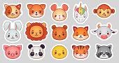Animals face stickers. Cute animal faces, kawaii funny emoji sticker or avatar. Cartoon vector illustration set