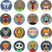 animals faces circle icons set Flat Style. zoo infographics design.