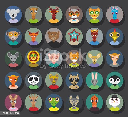 Set of animals faces circle icons set in Trendy Flat Style. zoo infographics design. Vector illustration