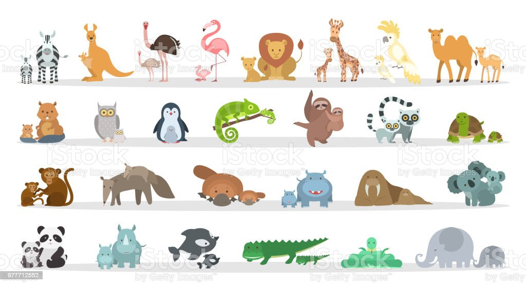 Animals families set. vector art illustration