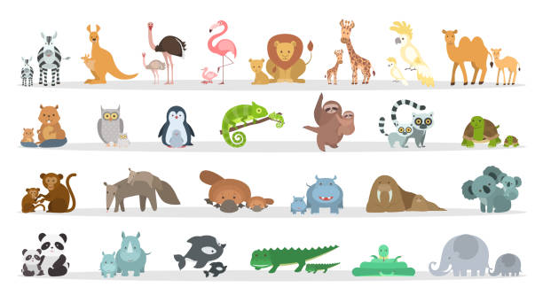 animals families set. - baby animals stock illustrations
