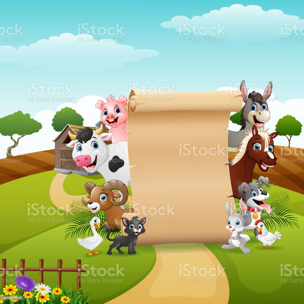 animals farm with a blank sign paper roll up stock vector art more