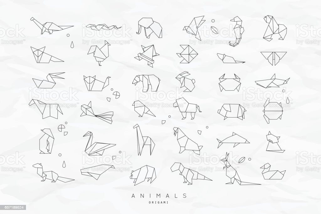 Animals flat origami set crumpled royalty-free animals flat origami set crumpled stock illustration - download image now