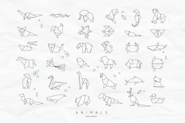 Animals flat origami set crumpled vector art illustration