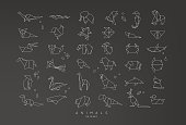 Set of animals origami in flat style snake, elephant, bird, seahorse, frog, fox, mouse, butterfly, pelican, wolf, bear, rabbit, crab, horse, fish, monkey, pig, turtle, kangaroo on black background