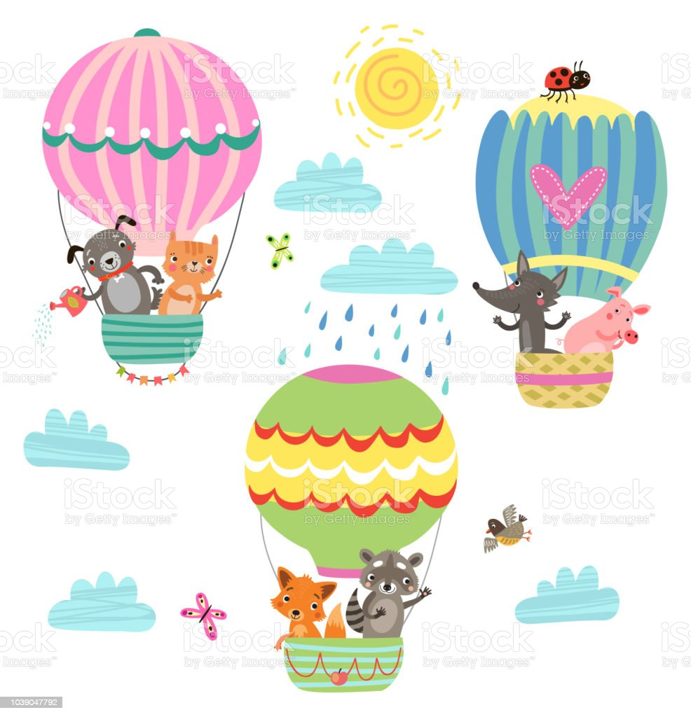 Animals Fly In A Hot Air Balloon Illustration Stock Illustration Download Image Now Istock