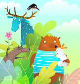Cartoon silly animals in the wild, kids fairytale design of happy cute wild characters in the forest, watercolor stylised vector.