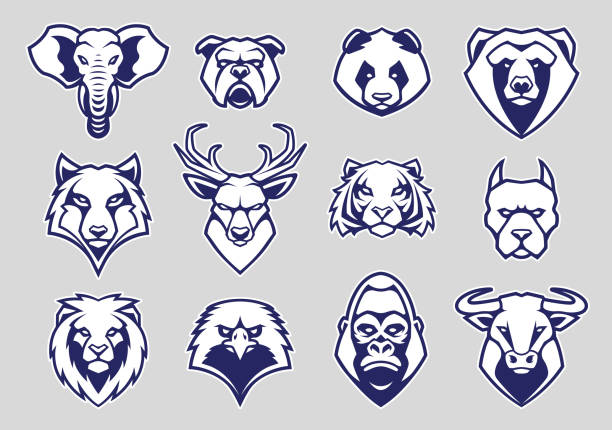 Animals Head Mascot Icons Vector Set Animals Head Mascot Icons Vector Set. Different animals muzzles looking straight with aggressive mood. Vector icons set. mascot stock illustrations