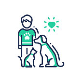 Animals Help - modern vector line design single icon.