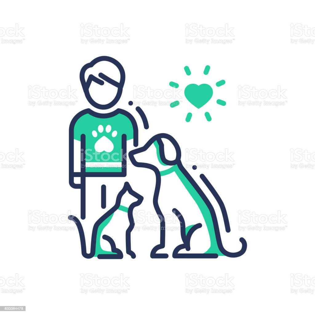 Animals Help - modern vector line design single icon. vector art illustration