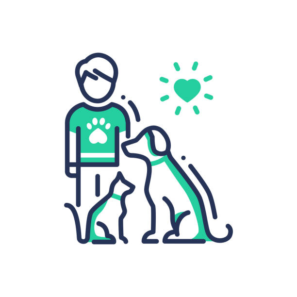 animals help - modern vector line design single icon. - pets stock illustrations, clip art, cartoons, & icons
