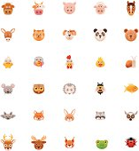 Set of the animal head icons
