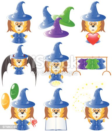 Animals Icon Set Wizard Stock Vector Art & More Images of Animal 97980244