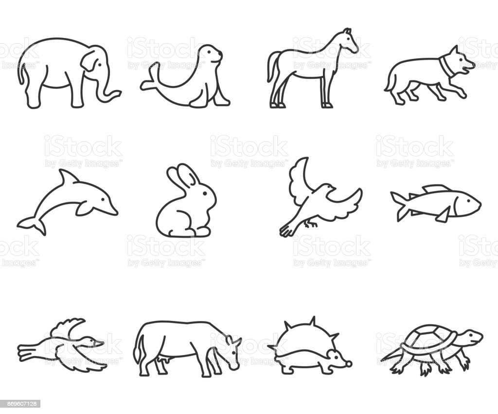 animals icons set. Editable stroke royalty-free animals icons set editable stroke stock illustration - download image now