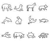 animals icons set. Editable stroke