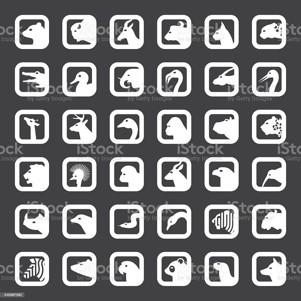 Animais Conjunto de ícones - ilustração de arte em vetor